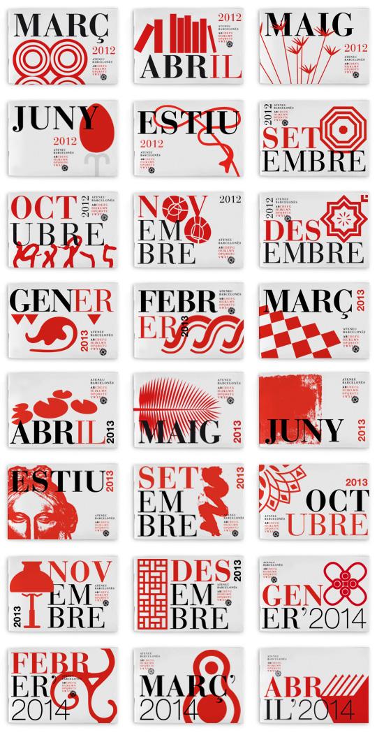 cubiertas de los programas del Ateneu Barcelonès (2012- 2014) diseñadas por La Page